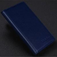 Кожаный чехол портмоне подставка (нат. кожа) для Philips i928 Синий