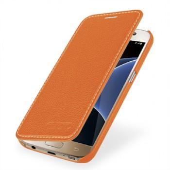 Кожаный чехол горизонтальная книжка (нат. кожа) для Samsung Galaxy S7