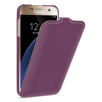Кожаный чехол вертикальная книжка (нат. кожа) для Samsung Galaxy S7