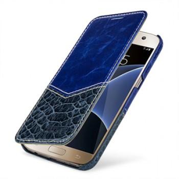 Эксклюзивный кожаный чехол горизонтальная книжка (2 вида нат. кожи) для Samsung Galaxy S7
