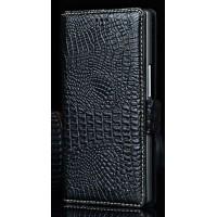 Кожаный чехол портмоне (нат. кожа крокодила) для Philips i928 Черный