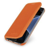 Кожаный чехол горизонтальная книжка (нат. кожа) для Samsung Galaxy S7 Edge