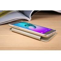 Чехол флип на пластиковой матовой нескользящей основе с окном вызова для Samsung Galaxy J3 (2016) Бежевый
