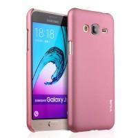 Пластиковый матовый непрозрачный чехол серия Металлик для Samsung Galaxy J3 (2016) Розовый