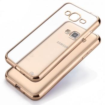 Силиконовый матовый полупрозрачный чехол текстура Металлик для Samsung Galaxy J3 (2016)