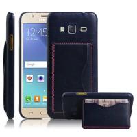 Дизайнерский чехол накладка с текстурным покрытием Кожа и отделением для карты/подставкой для Samsung Galaxy J3 (2016) Черный