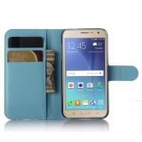 Чехол портмоне подставка с защелкой для Samsung Galaxy J3 (2016) Голубой