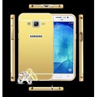 Гибридный металлический двухкомпонентный чехол и поликарбонатной крышкой с зеркальным покрытием для Samsung Galaxy J3 (2016) Бежевый