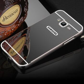 Гибридный металлический двухкомпонентный чехол и поликарбонатной крышкой с зеркальным покрытием для Samsung Galaxy J3 (2016)