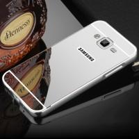 Гибридный металлический двухкомпонентный чехол и поликарбонатной крышкой с зеркальным покрытием для Samsung Galaxy J3 (2016) Белый