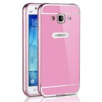 Двухкомпонентный чехол с металлическим бампером и поликарбонатной накладкой для Samsung Galaxy J3 (2016) Розовый