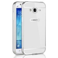 Двухкомпонентный чехол с металлическим бампером и поликарбонатной накладкой для Samsung Galaxy J3 (2016) Белый