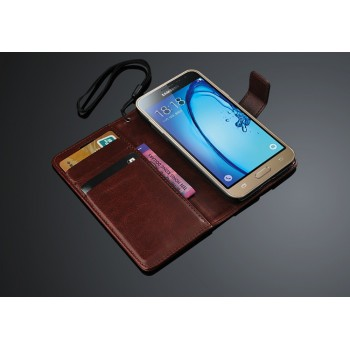 Глянцевый чехол портмоне подставка с защелкой для Samsung Galaxy J3 (2016)