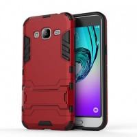 Двухкомпонентный силиконовый чехол с пластиковым бампером и подставкой для Samsung Galaxy J3 (2016) Красный