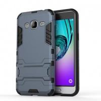 Двухкомпонентный силиконовый чехол с пластиковым бампером и подставкой для Samsung Galaxy J3 (2016) Синий