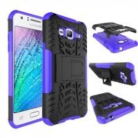 Двухкомпонентный силиконовый чехол с пластиковым бампером и подставкой для Samsung Galaxy J3 (2016) Фиолетовый