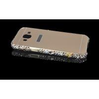 Двухкомпонентный чехол с металлическим бампером с инкрустацией стразами и бижутерией ручной работы и поликарбонатной накладкой для Samsung Galaxy J3 (2016) Бежевый