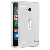 Двухкомпонентный чехол с металлическим бампером и поликарбонатной накладкой для Microsoft Lumia 640 Белый