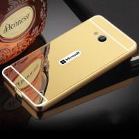 Двухкомпонентный чехол с металлическим бампером и поликарбонатной накладкой с зеркальным покрытием для Microsoft Lumia 640 Бежевый