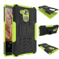 Двухкомпонентный силиконовый чехол с пластиковым бампером и подставкой для Huawei Mate 8 Зеленый