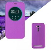 Текстурный чехол флип подставка с окном вызова для ASUS Zenfone 2 Laser 5.5 (ZE550KL) Фиолетовый