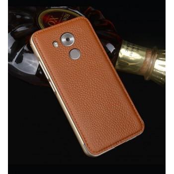 Двухкомпонентный гибридный чехол с металлическим бампером и кожаной накладкой для Huawei Mate 8