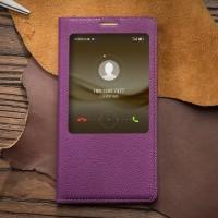 Кожаный прошитый чехол флип подставка на пластиковой основе с окном вызова для Huawei Mate 8 Фиолетовый