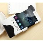 Дизайнерский принтованный чехол флип на пластиковой основе с окном вызова для Huawei Mate 8