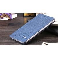 Чехол флип подставка на силиконовой основе текстура Соты для Huawei Mate 8 Синий