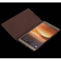 Кожаный чехол горизонтальная книжка (нат. кожа крокодила) для Huawei Mate 8 Коричневый