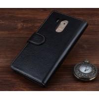 Кожаный чехол портмоне (нат. кожа) на пластиковой основе с магнитной защелкой для Huawei Mate 8 Черный