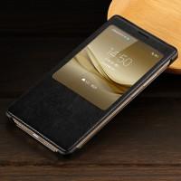 Чехол флип на пластиковой основе с окном вызова текстура Кожа для Huawei Mate 8 Черный