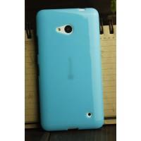 Силиконовый глянцевый непрозрачный чехол для Microsoft Lumia 640 Голубой