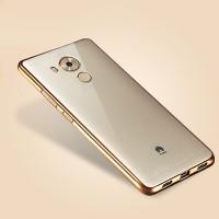 Силиконовый матовый полупрозрачный чехол текстура Металлик для Huawei Mate 8 Бежевый