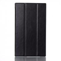 Чехол флип подставка сегментарный глянцевый на поликарбонатной основе для Lenovo Tab 2 A7-30 Черный