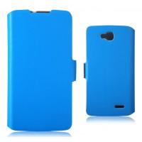 Тонкий чехол флип-подставка с застежкой для LG L90 Голубой