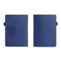 Чехол книжка подставка с рамочной защитой экрана, отделениями для карт и поддержкой кисти для Huawei MediaPad M2 10 Синий