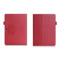 Чехол книжка подставка с рамочной защитой экрана, отделениями для карт и поддержкой кисти для Huawei MediaPad M2 10 Красный