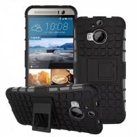Антиударный силиконовый чехол экстрим защита с подставкой для HTC One M9+ Черный