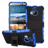 Антиударный силиконовый чехол экстрим защита с подставкой для HTC One M9+ Синий