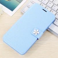 Текстурный чехол флип с дизайнерской застежкой и отделением для карт для Huawei Honor 4C Pro Голубой