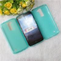 Силиконовый матовый полупрозрачный чехол для LG K8 Голубой