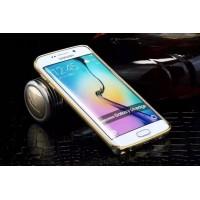 Металлический бампер с золотой окантовкой для Samsung Galaxy S6 Edge Бежевый