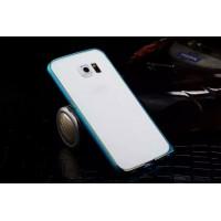 Металлический бампер с золотой окантовкой для Samsung Galaxy S6 Edge Голубой