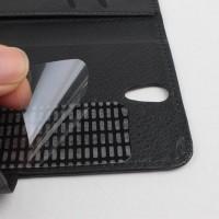 Чехол портмоне подставка на клеевой основе с магнитной застежкой для Philips V387 Xenium Черный