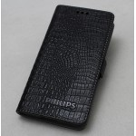 Кожаный чехол горизонтальная книжка (нат. кожа крокодила) подставка для Philips V387 Xenium