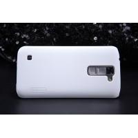 Пластиковый матовый нескользящий премиум чехол для LG K7 Белый