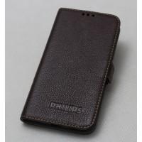 Кожаный чехол горизонтальная книжка (нат. кожа) на силиконовой основе для Philips i908 Коричневый