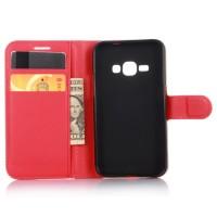 Чехол портмоне подставка с защелкой для Samsung Galaxy J1 (2016) Красный