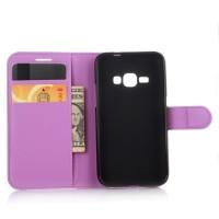 Чехол портмоне подставка с защелкой для Samsung Galaxy J1 (2016) Фиолетовый